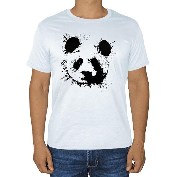 Панда кляксами, белая футболка