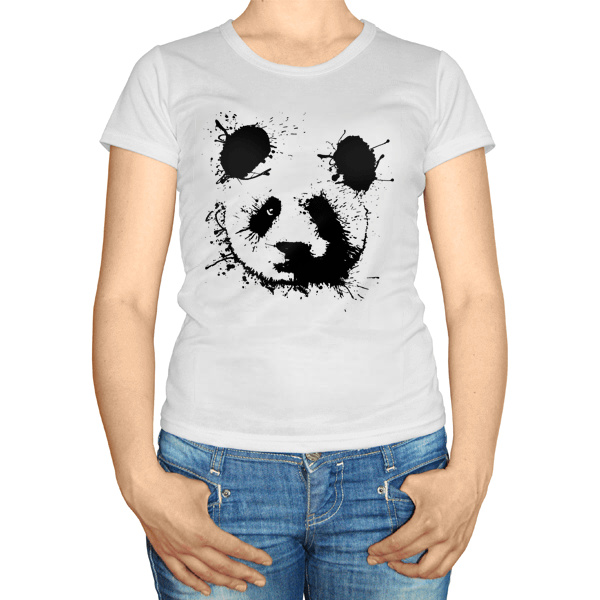 Женская футболка Панда кляксами