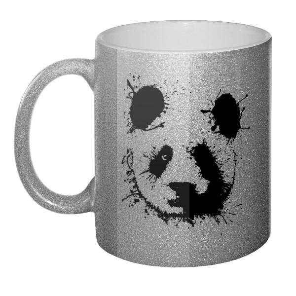 Кружка блестящая Панда кляксами