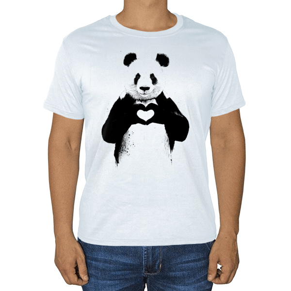 Панда с сердечком, белая футболка