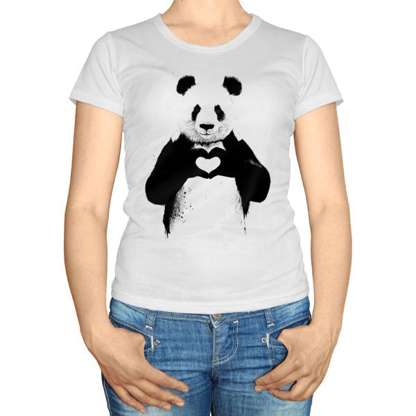 Женская футболка Панда с сердечком