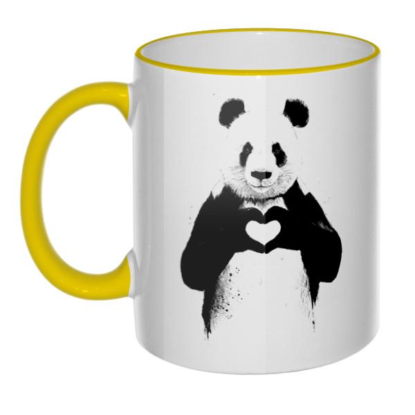 Кружка Панда с сердечком с цветным ободком и ручкой