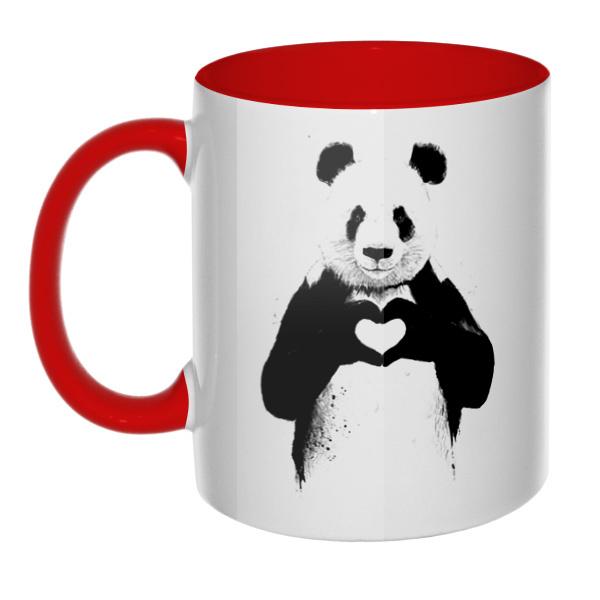 Панда с сердечком, кружка цветная внутри и ручка
