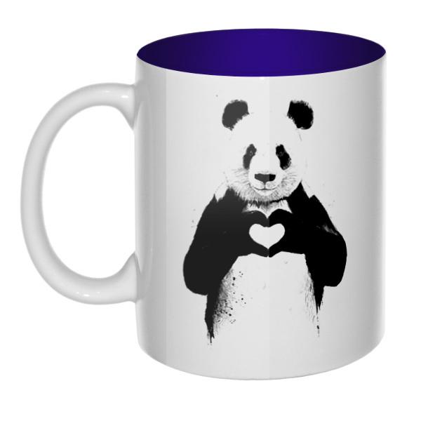 Панда с сердечком, кружка цветная внутри