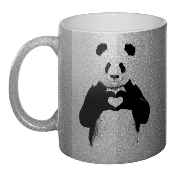 Кружка блестящая Панда с сердечком