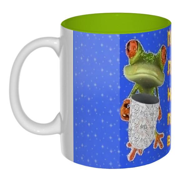 Порадуй лягушку, налей пива в кружку, цветная внутри 3D-кружка