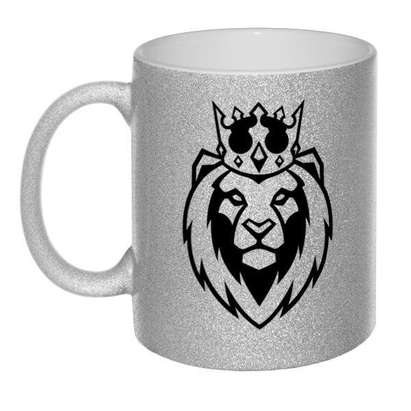 Кружка глиттерная Лев