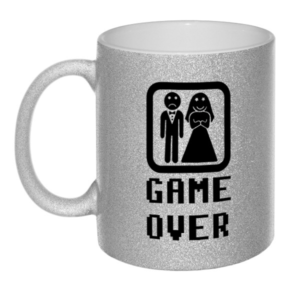Кружка глиттерная Game Over