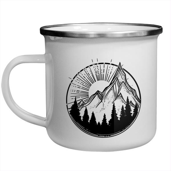 Рисунок силуэта гор, металлическая кружка